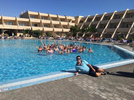 Taught a bit of Aqua Zumba while working abroad!